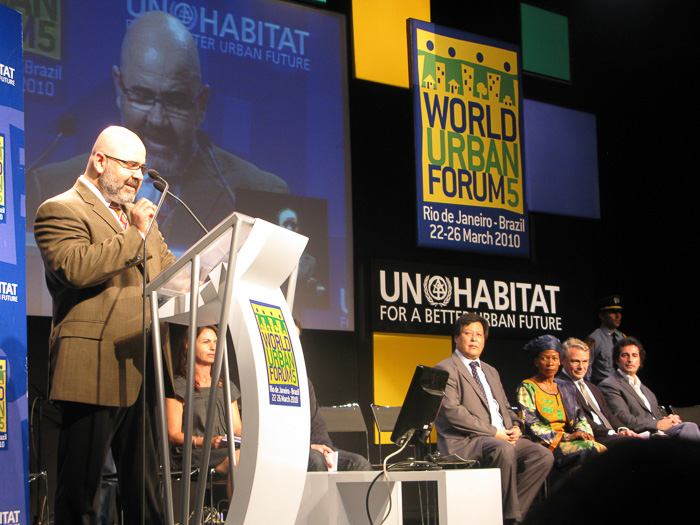Cemil giving a conference introducing the World Urban Campaign at the 18,000 delegate World Urban Forum in Rio de Janeiro in 2010