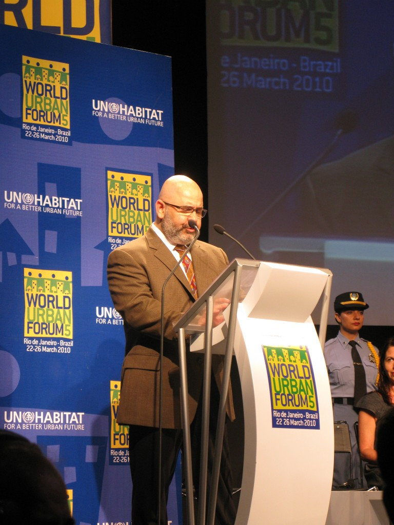 Cemil Alyanak introducing the world to the World Urban Campaign at the 2010 World Urban Forum and its 18,000 attendees