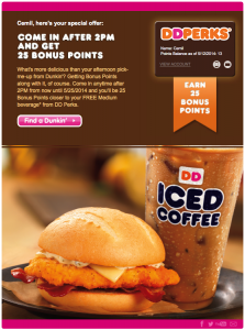A Dunkin' Donuts promotional email I received today.